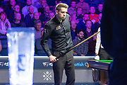Mark Selby gets his opportunity to finish the frame during the first session of  the World Snooker 19.com Scottish  Open Final Mark Selby vs Jack Lisowski at the Emirates Arena, Glasgow, Scotland on 15 December 2019.