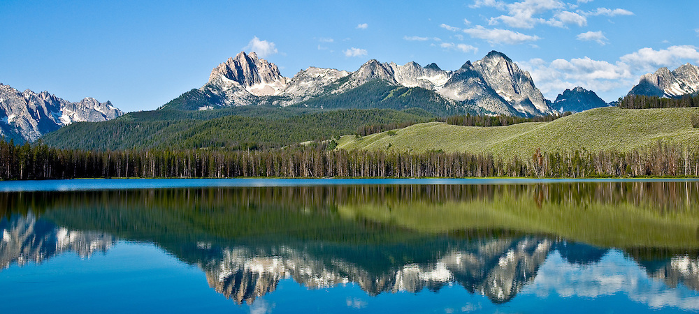 Panorama - Mt Heyburn at left is at 10229 ft in the Sawtooth Mountain Range taken from Little Redfish Lake in Central Idaho. Licensing and Limited Edition Prints.