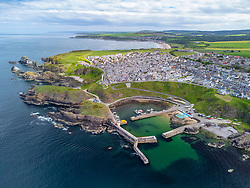 Aerial view form drone of harbour at Portknockie on Moray Firth coast in Moray, Scotland, UK