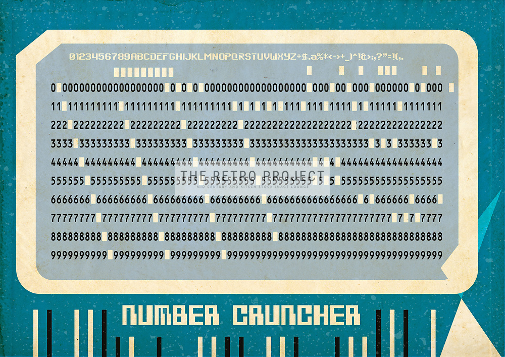 Number Cruncher Punched Card Retro illustration on blue green background with texture overlays