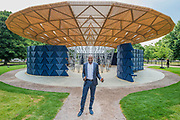 Francis Kere the designer - The new Serpentine Pavillion designed by Francis Kere is opened outside the gallery in Hyde Park.