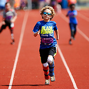 William Butts, 9, leads his group in a race during the track portion of the Endeavor Games at Edmond North High School in Edmond, Okla., Friday, June 11, 2016. Photo by Kurt Steiss, The Oklahoman
