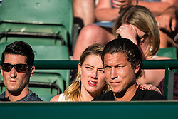 July 11, 2018 - London, England, U.S. - LONDON, ENG - JULY 11: american actress AMBER HEARD and american art curator VITO SCHNABEL during day nine match of the 2018 Wimbledon on July 11, 2018, at All England Lawn Tennis and Croquet Club in London,England. (Photo by Chaz Niell/Icon Sportswire) (Credit Image: © Chaz Niell/Icon SMI via ZUMA Press)