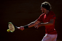 May 3, 2018 - Estoril, Portugal - Stefanos Tsitsipas from Greece  returns the ball to Kevin Anderson from South Africa during the Millennium Estoril Open tennis tournament in Estoril, outskirts of Lisbon, Portugal on May 1, 2018  (Credit Image: © Carlos Costa/NurPhoto via ZUMA Press)