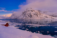 Winter landscape between Flakstad and Ramberg, Lofoten Islands, Arctic, Northern Norway.