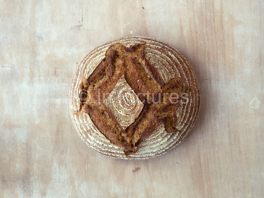 Freshly baked Yorkshire Mill sourdough loaf at the Haxby Bakehouse, Yorks artisan bakery in Haxby, North Yorkshire, United Kingdom on 10th February 2017. Haxby Bakehouse make bread using traditional methods of slow fermentation. They use low yeasted overnight sponges, natural sourdoughlevain or a combination of the two. This means the bread they produce is full of flavour without the use of any artificial flour improvers, preservatives or emulsifiers.