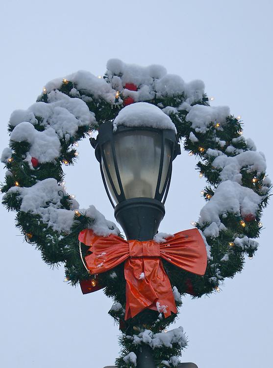 Winter Snow, Berks Co., PA Scene West Reading Street Scenes, Winter Holiday Wreath and Light