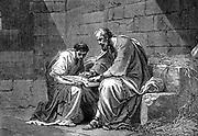 St Paul the Apostle in prison, writing his epistle to the Ephesians. 1st century AD. 'Bible' Ephesians 3.1. 19th century wood engraving.