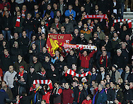 Liverpool fans during the Capital One Cup match between Bournemouth and Liverpool at the Goldsands Stadium, Bournemouth, England on 17 December 2014.