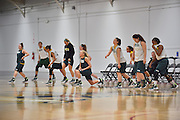 April 3, 2016; Indianapolis, Ind.; The UAA women's basketball team stretches before their practice session at Harvest Pavilion on the Indiana State Fair grounds.