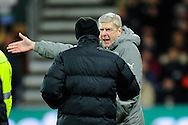 Arsenal manager Arsene Wenger makes his feelings known to the 4th official during the Premier League match between Bournemouth and Arsenal at the Vitality Stadium, Bournemouth, England on 3 January 2017. Photo by Graham Hunt.