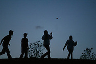 People play with a ball during a concert at Bethel Woods Center for the Arts on Aug. 17, 2007.