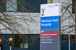 © Licensed to London News Pictures. 13/03/2020. Slough, UK. A sign at an entrance to Wexham Park Hospital. Staff at a hospital in Berkshire have tested positive for the COVID-19 coronavirus after a patient was also diagnosed. The elderly care ward at Wexham Park Hospital in Slough has been temporarily closed to new admissions for two weeks. Frimley Health NHS Foundation Trust said staff affected are self-isolating. Photo credit: Peter Manning/LNP