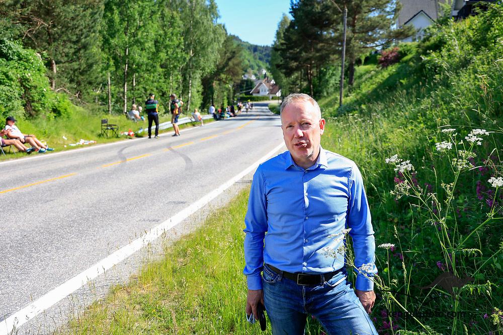 Vennesla 20210613. <br /> President i Norges Cykleforbund Jan-Oddvar Sørnes i langesonen under landevei fellesstart U23 for herrer under sykkel-NM 2021 i Vennesla.<br /> Foto: Tor Erik Schrøder / NTB