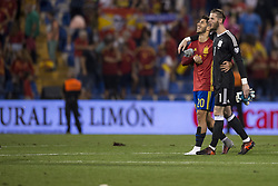 October 6, 2017 - Alicante, Spain - Marcos Asensio (Real Madrid) and David De Gea (Manchester United) during the qualifying match for the World Cup Russia 2018 between Spain and Albaniaat the Jose Rico Perez stadium in Alicante, Spain on October 6, 2017. (Credit Image: © Jose Breton/NurPhoto via ZUMA Press)