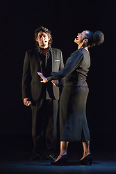 "© Licensed to London News Pictures. 23/06/2015. London, UK. Singers José Ángel Carmona and Vimala Rowe in Martinete. Paco Peña Dance Company perform the UK premiere of ""Flamencura"" at Sadler's Wells Theatre. The flamenco show runs from 20 to 28 June 2015 and features six musicians and three dancers.Photo credit: Bettina Strenske/LNP"