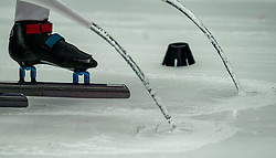Ice prepare on 1500 meter during ISU World Short Track speed skating Championships on March 05, 2021 in Dordrecht