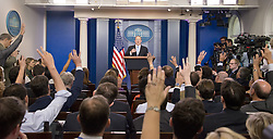 June 26, 2017 - Washington, District of Columbia, U.S. - Media representatives raise hands for questions, as White House Press Secretary Sean Spicer conducts his daily press briefing in the Brady Press room of the White House in Washington. (Credit Image: © Ron Sachs/CNP via ZUMA Wire)