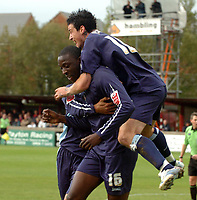 Photo: Paul Greenwood.<br />Accrington Stanley v Swindon Town. Coca Cola League 2. 07/10/2006.<br />Swindon's Fola Onibuje and Lee Peacock celebrate.