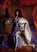 Painting of Louis XIV King of France 1638-1715. By Hyacinthe Rigaud circa 1701. Displayed in the palace of Versailles.