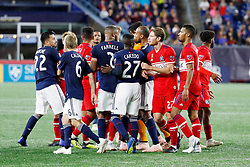 September 22, 2018 - Foxborough, MA, U.S. - FOXBOROUGH, MA - SEPTEMBER 22: Chaos breaks out during a match between the New England Revolution and the Chicago Fire on September 22, 2018, at Gillette Stadium in Foxborough, Massachusetts. The teams played to a 2-2 draw. (Photo by Fred Kfoury III/Icon Sportswire) (Credit Image: © Fred Kfoury Iii/Icon SMI via ZUMA Press)