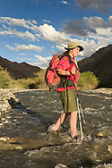 Walker fording stream in the Markha valley in late evening sunlight, Ladakh
