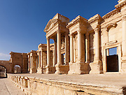 Stage of the Theatre, Palmyra, Syria. Ancient city in the desert that fell into disuse after the 16th century.