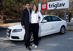 Aleksander Vrtac, general manager of Avtohisa Vrtac and Sara Isakovic, Slovenian swimmer when her sponsor Zavarovalnica Triglav d.d. decided to rebuild children playground, on March 22, 2012, in Notranje Gorice, Slovenia. (Photo by Vid Ponikvar / Sportida.com)