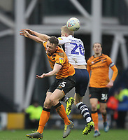 Preston North End's Jayden Stockley in action with Hull City's Matthew Pennington <br /> <br /> Photographer Mick Walker/CameraSport<br /> <br /> The EFL Sky Bet Championship - Preston North End v Hull City - Saturday 22nd February 2020 - Deepdale Stadium - Preston<br /> <br /> World Copyright © 2020 CameraSport. All rights reserved. 43 Linden Ave. Countesthorpe. Leicester. England. LE8 5PG - Tel: +44 (0) 116 277 4147 - admin@camerasport.com - www.camerasport.com