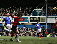 Photo: Lee Earle.<br /> Portsmouth v Manchester United. The Barclays Premiership. 11/02/2006. United's Ruud van Nistelrooy (F) heads home the opening goal.
