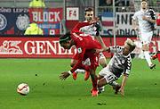 Deutschland, Hamburg. 12.02.16 2. Fussball Bundesliga Saison 2015/16 - 21. Spieltag FC St. Pauli - RasenBallsport Leipzig<br /> im Millerntorstadion<br /> <br /> Yussuf Poulsen (RB Leipzig, l.) - Marc Rzatkowski (St. Pauli)<br /> <br /> © Torsten Helmke