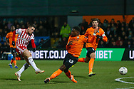 Brentford forward Sergi Canos (7) takes a shot on goal during The FA Cup fourth round match between Barnet and Brentford at The Hive Stadium, London, England on 28 January 2019.