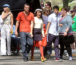 Apr. 27, 2011 - New York, USA - Heather Morris, Mark Salling, Lea Michele Dianna Agron, Harry Shum Jr. and Ashley Fink on the set of ''Glee'' in New York's Central Park, 26.04.2011.  Credit: Rolf Mueller (Credit Image: © face to face/ZUMAPRESS.com)