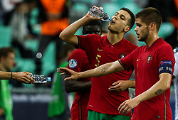 LJUBLJANA, SLOVENIA - JUNE 06:  Diogo Dalot of Portugal, Diogo Queiros of Portugal drinking water during the 2021 UEFA European Under-21 Championship Final match between Germany and Portugal at Stadion Stozice on June 06, 2021 in Ljubljana, Slovenia. Photo by Grega Valancic / Sportida
