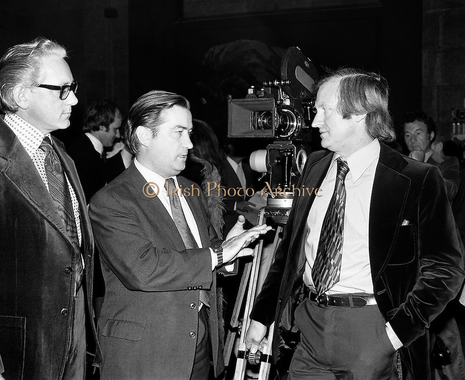 In 1975 Ardmore Studios was renamed The  National Film Studios of Ireland, with Seamus Smith as managing director and film director John Boorman as chairman. Pictured at the opening are (l-r): Seamus Smith, Justin Keating, Minister for Industry and Commerce and John Boorman. The studios hosted several major films including 'The Purple Taxi' and The Great Train Robbery'.<br /> 20/11/1975