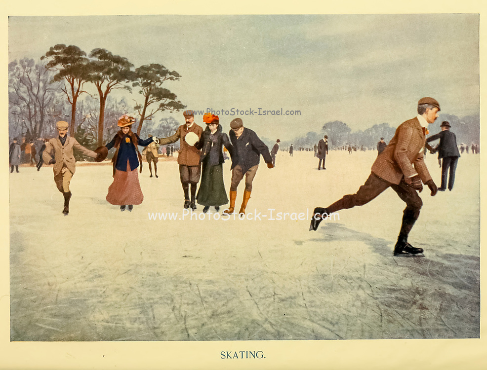 Ice Skating From the book ' English sport ' by Alfred Edward Thomas Watson, Published in London by Macmillan and Co. Limited and in New York by Macmillan Company. in 1903