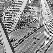 The Leonard P Zakim Bridge connects Boston and Charles town, Massachusetts, spanning the Charles River.
