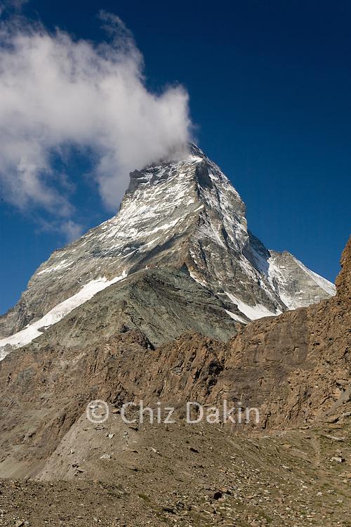 Matterhorn from the lower Hornli ridge, nr Zermatt