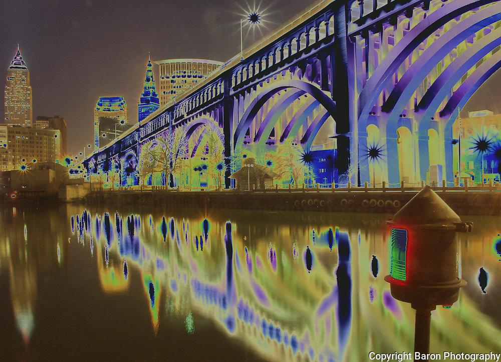 Cleveland Skyline ,Cleveland bridges,  Cleveland Ohio
