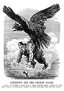 "Ganymede and the German Eagle. Sultan. ""Of course I know it's a great honour being 'taken up' like this; still, I'm beginning almost to wish the bird had left me alone."" (the German Eagle carries off Sultan Mehmed V into the sky)"