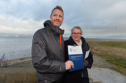 Michael Avril, Chairman of Water Safety Scotland and Gillian Barclay from Burntisland, whose 18 year old son Cameron Lancaster drowned at a disused quarry in Inverkeithing in 2014, launches the Drowning Prevention Strategy at Crammond Beach. The strategy aims to half the number of accidental drownings in Scotland by 2026.<br /> <br /> © Dave Johnston/ EEm