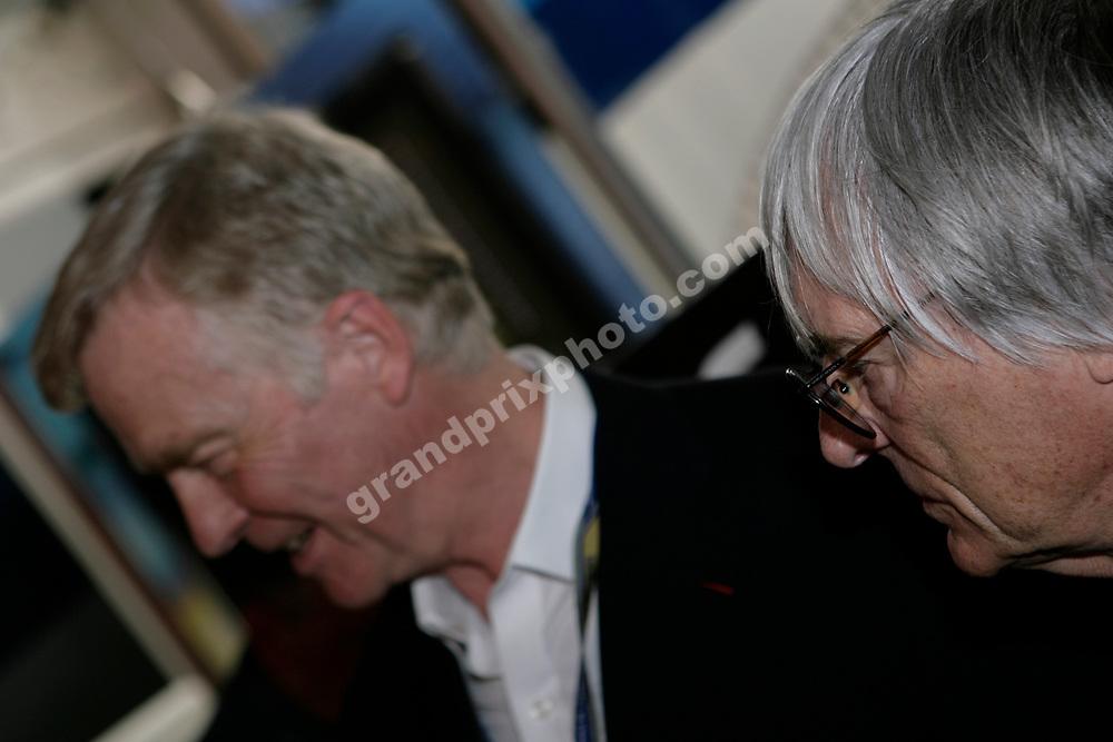 FIA president Max Mosley and Bernie Ecclestone before the 2006 French Grand Prix at Magny-Cours. Photo: Grand Prix Photo