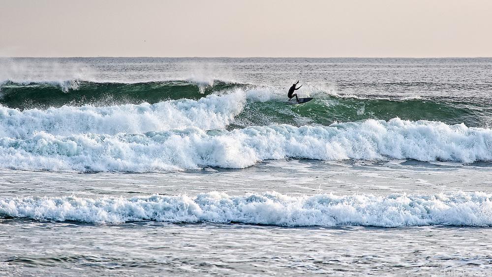 Surfing at Higgins Beach, Scarborough, Maine