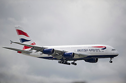 © London News Pictures. 04/07/2013 . London, UK.  BA new British Airways Boeing A380 superjumbo arrives at Heathrow Airport. It was the first time British Airlines have taken delivery of the new plane, making British Airways the first European airline to operate both the 787 and A380. Photo credit : Ben Cawthra/LNP