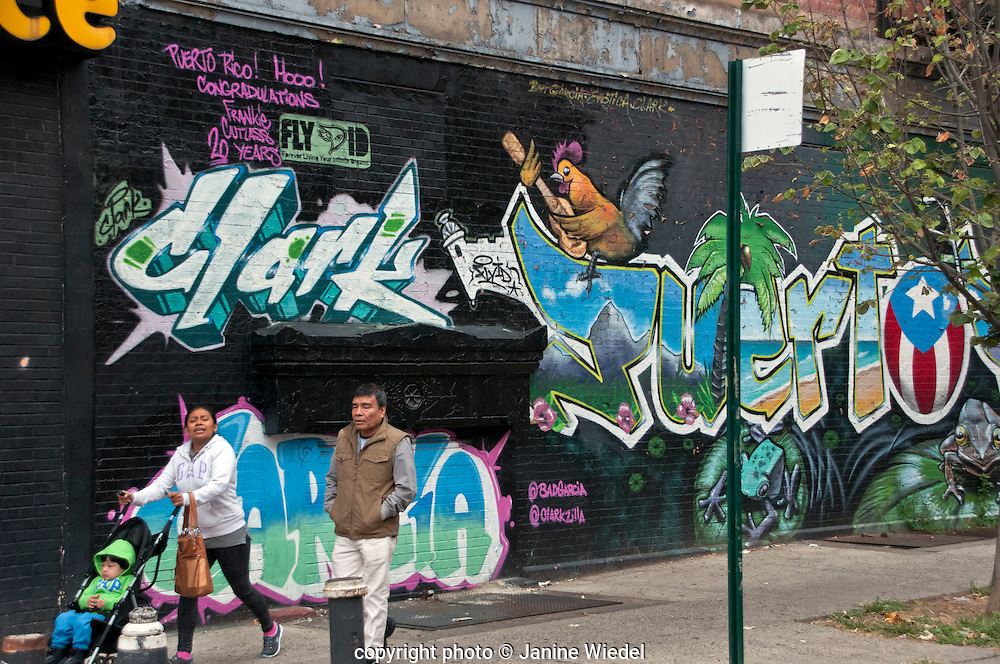 Mural in Spanish Harlem for Puerto Rican Community New York City