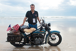 American Iron Magazine publisher Buzz Kanter at the beginning of Stage 1 of the Motorcycle Cannonball Cross-Country Endurance Run, which on this day ran from Daytona Beach to Lake City, FL., USA. Friday, September 5, 2014.  Photography ©2014 Michael Lichter.