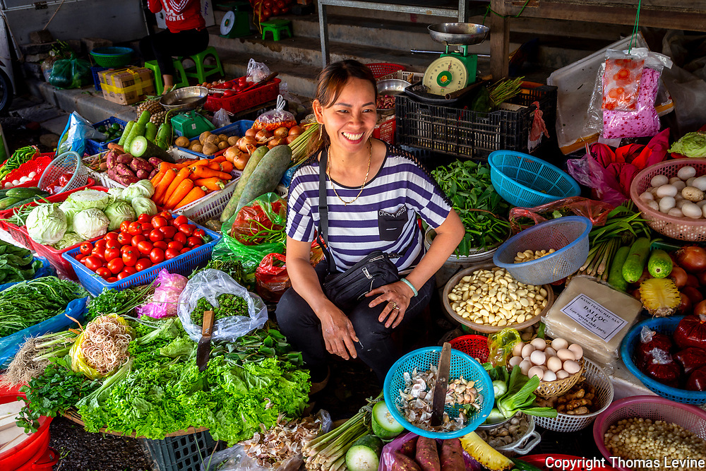Nov., 2020, Hoi An: Central Market area where this lady and many others sell their vegetables in Old Town.