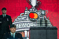 REGINA, SK - MAY 17: The Memorial cup stands on display during opening ceremonies at Mosaic Stadium on May 17, 2018 in Regina, Canada. (Photo by Marissa Baecker/Shoot the Breeze)