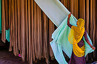 Inde, Rajasthan, Usine de Sari, les tissus sechent en plein air, ramassage des tissus secs par des femmes // India, Rajasthan, Sari Factory, Textile are dried in the open air. Collecting of dry textile are folded by women
