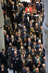 Two minutes' silence is observed at Lloyd's of London to mark Armistice Day, the anniversary of the end of the First World War.